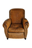 Vintage Brown leather chair. Used, old vintage brown leather chair isolated on a white background Royalty Free Stock Image