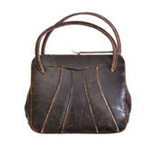 Vintage brown leather handbag from the 1950's Royalty Free Stock Images