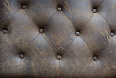 Vintage brown leather Sofa Button for textured background Stock Image