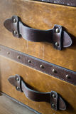 Vintage brown leather suitcase up close Royalty Free Stock Photography