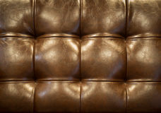 Vintage brown leather upholstery buttoned sofa (background) Royalty Free Stock Photography