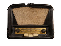 Vintage brown old radio receiver isolated Royalty Free Stock Photography