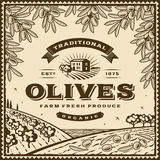 Vintage brown olives label Stock Photo
