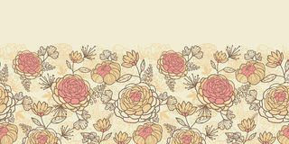 Vintage brown pink flowers horizontal seamless Stock Photography