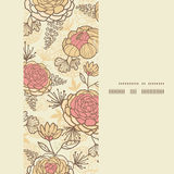 Vintage brown pink flowers vertical frame seamless Royalty Free Stock Photo