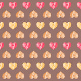 Vintage brown polygon pink colorful heart pattern Royalty Free Stock Photography