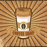 Vintage brown poster Coffee shop. Poster in vintage style with a coffee cup and text. Paper box texture Stock Photos