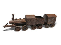 Vintage brown rusty steam locomotive iron model isolated Royalty Free Stock Photos
