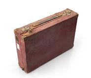 Vintage brown suitcase isolated on white background Royalty Free Stock Photos