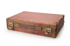 Vintage brown suitcase isolated on white background Royalty Free Stock Images