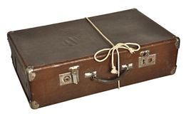 Vintage brown suitcase isolated on white background Stock Images