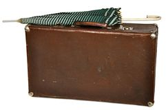 Vintage brown suitcase isolated on white Stock Image