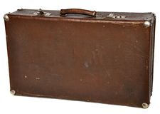 Vintage brown suitcase isolated on white Stock Images