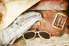Vintage brown suitcase Stock Images