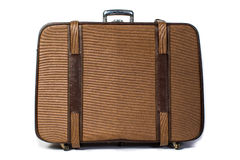 Vintage brown suitcase on white background Stock Photos