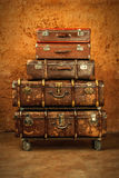 Vintage brown suitcases Stock Images