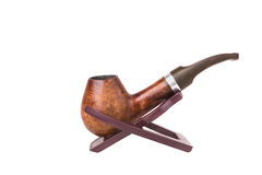 Vintage brown  tobacco pipe Stock Images