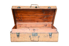 Vintage brown wood suitcase isolated Royalty Free Stock Photo