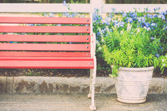 Vintage brown wooden bench in the garden Royalty Free Stock Photos