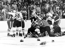 Vintage Bruins - Islanders Fight. Royalty Free Stock Photography