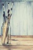 Vintage brushes set, toned Stock Image