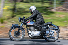 Vintage BSA Motorcycle on country roads Royalty Free Stock Image