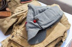 Vintage budenovka (wool cavalry helmet) used as uniform Royalty Free Stock Photos