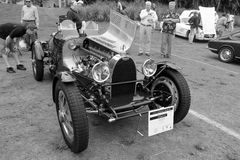 Vintage bugatti race car and engine Royalty Free Stock Images