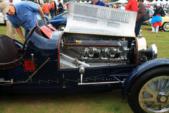 Vintage bugatti race car and engine Royalty Free Stock Photos