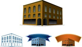 Vintage Building. A collection of illustrations of an old brick building Royalty Free Stock Images