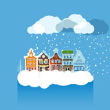 Vintage buildings with snowfall on Winter Stock Photography