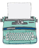 Vintage Bulgarian Manual Typewriter. Art painting vector illustration