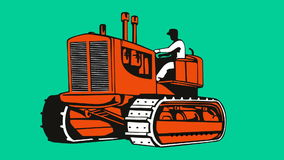 Vintage bulldozer tractor retro stock video footage