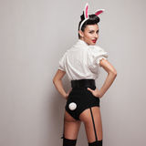 Vintage bunny costume. Pinup styling girl posing in vintage bunny costume Stock Images