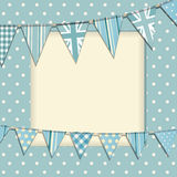 Vintage bunting frame. Vintage bunting background on a blue polka dot frame Stock Image