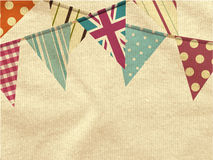 Vintage bunting over crumpled material Stock Photo