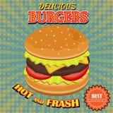 Vintage burger poster design, Stock Image