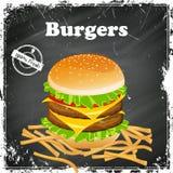 Vintage Burger Poster Stock Photos
