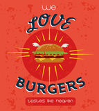 Vintage Burgers poster design. Burger house poster. Promotional retro poster design. Vector illustration vector illustration