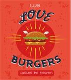 Vintage Burgers poster design Royalty Free Stock Image