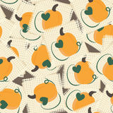 Vintage burlap fabric swatches with pumpkins seamless background Royalty Free Stock Photo