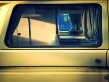 Vintage bus camper van. Closeup of a vintage bus camper van royalty free stock photo
