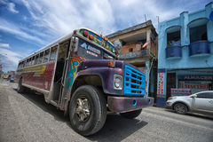 Vintage bus in Colon Panama. June 9, 2016 Colon, Panama: old school buses are converted into cheap public transportations Stock Photo