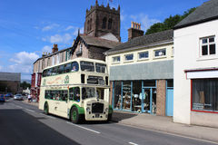 Vintage bus Market street, Kirkby Stephen, Cumbria Stock Photography