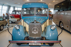 Vintage bus Mercedes-Benz O2600 touring coach with soft-top, 1940. Royalty Free Stock Photo