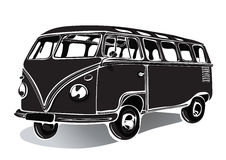 Vintage bus, retro car, black and white drawing, hand-drawing, monochrome Stock Image