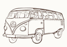 Vintage bus, retro car, painted coloring book, hand-drawing, monochrome Royalty Free Stock Images