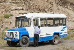 Vintage bus in armenia Stock Photo