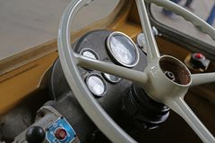 Vintage bus steering wheel stock photo