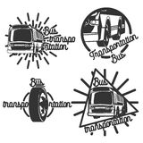 Vintage bus transportation emblems. Design elements, icons, logo, emblems and badges  on white background Stock Photos